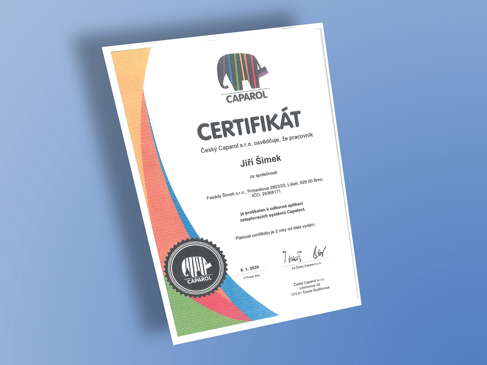 Certifikát CAPAROL II