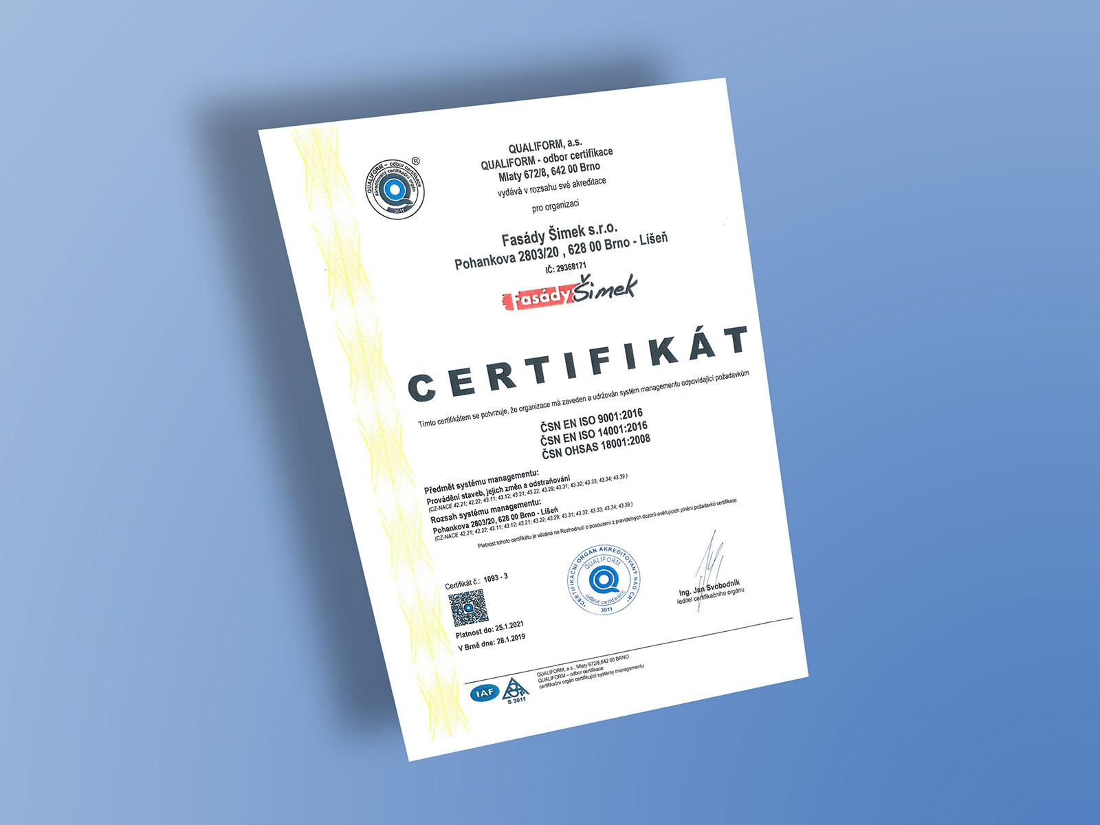 Certifikát ČSN EN ISO