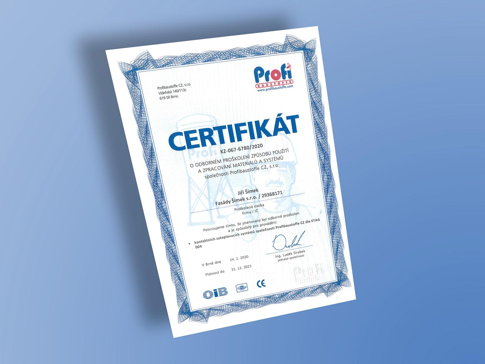 Certifikát Profibaustoffe