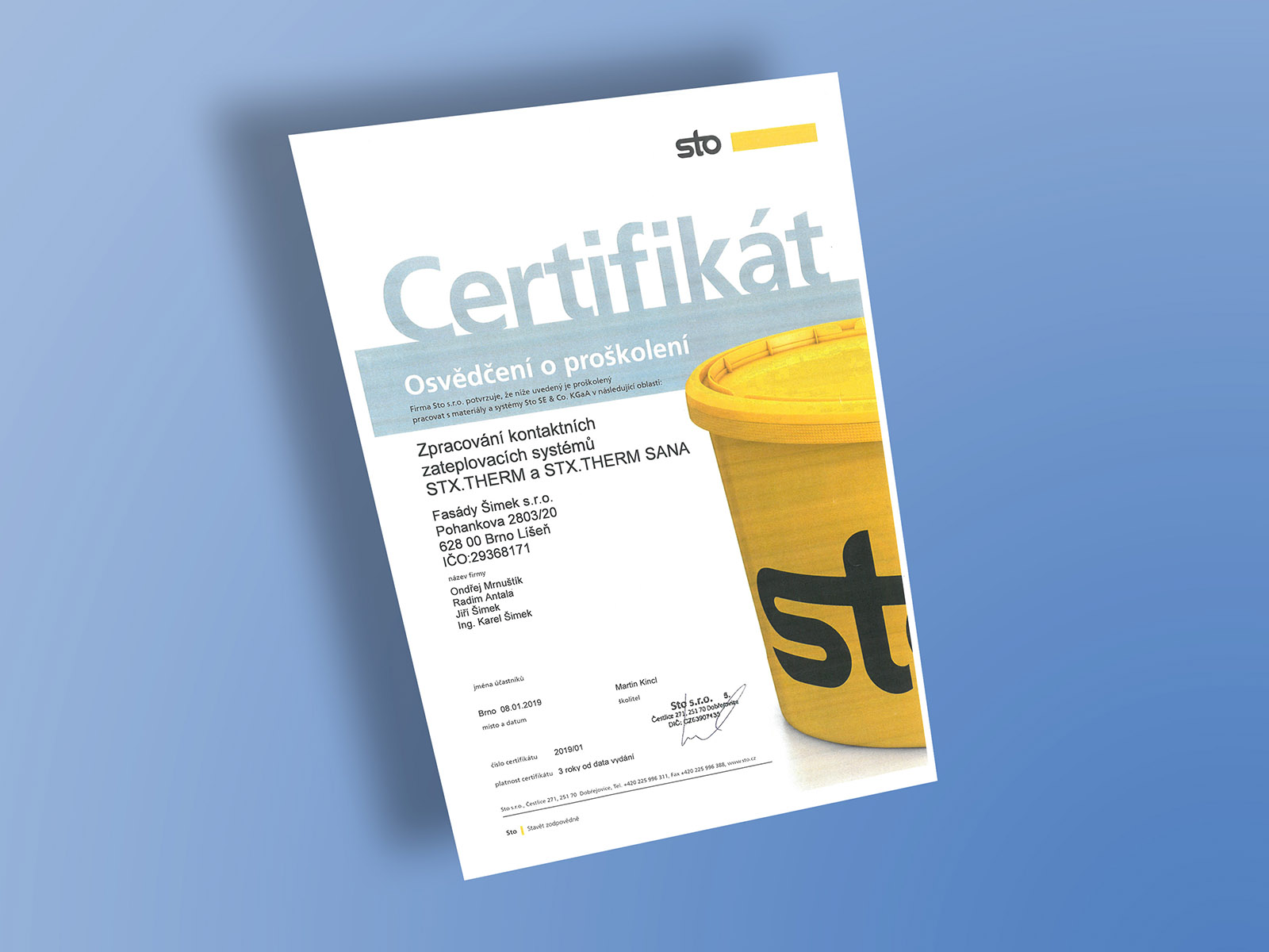 Certifikát Sto - sanace
