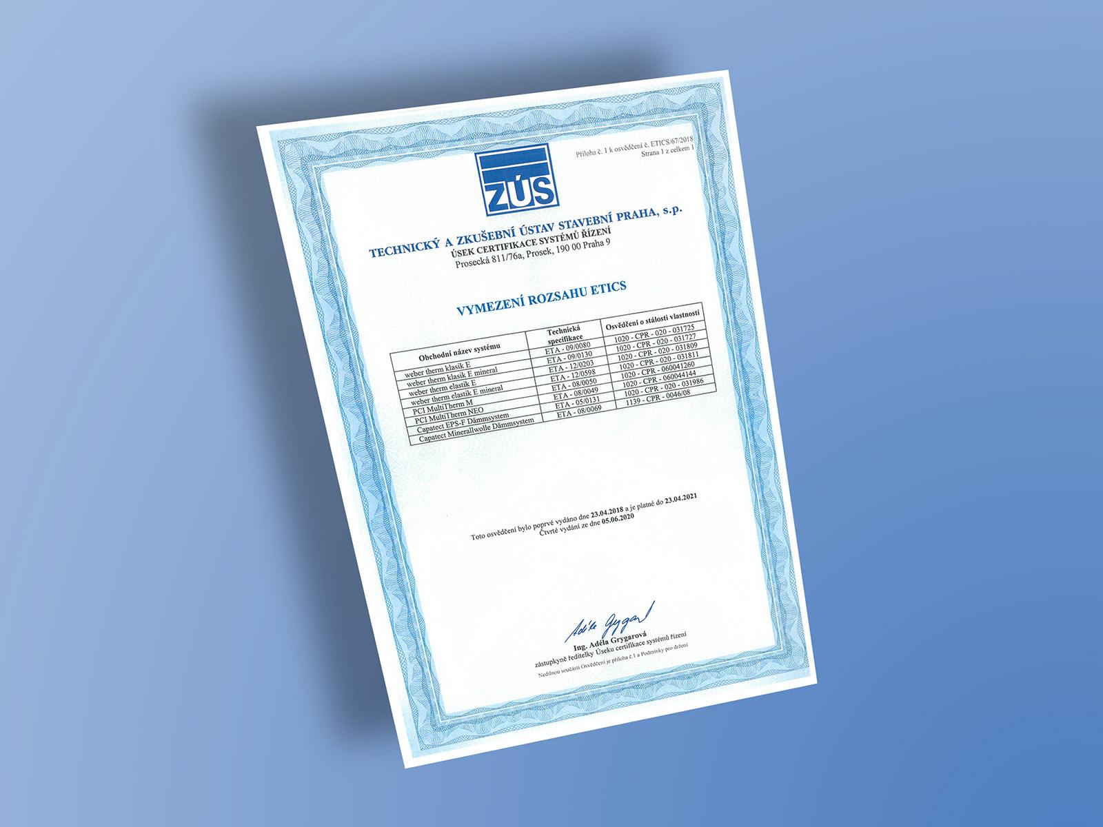 Certifikát TZÚS