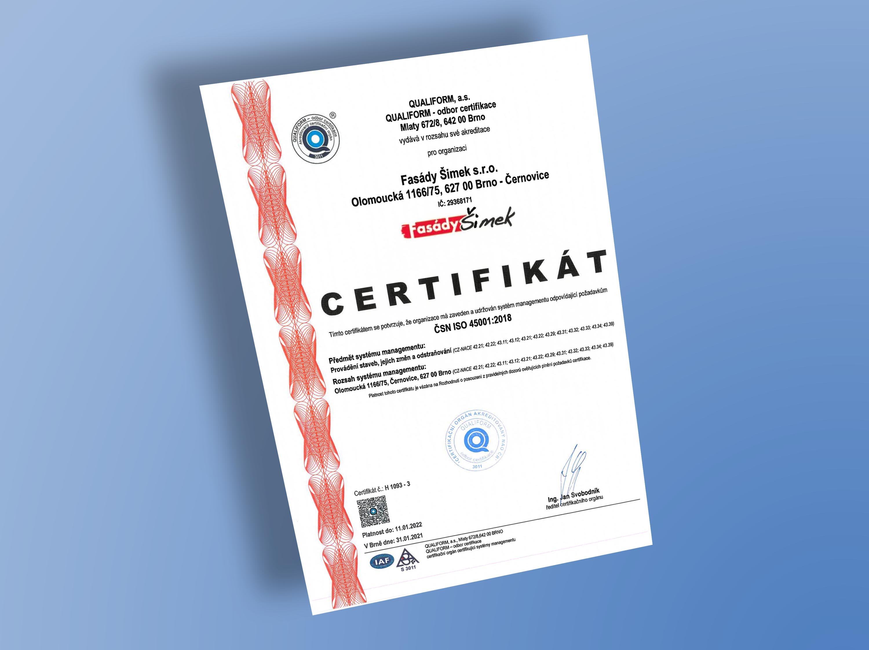 Certifikát ČSN ISO 45001