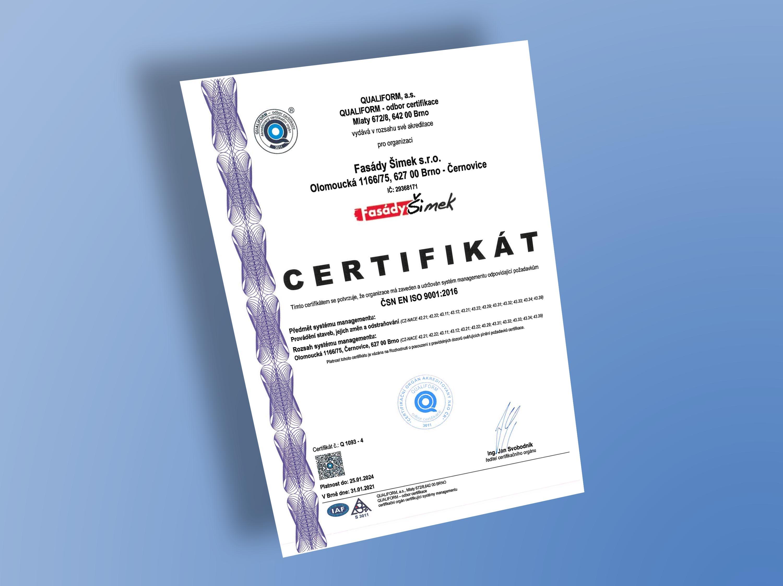 Certifikát ČSN ISO 9001
