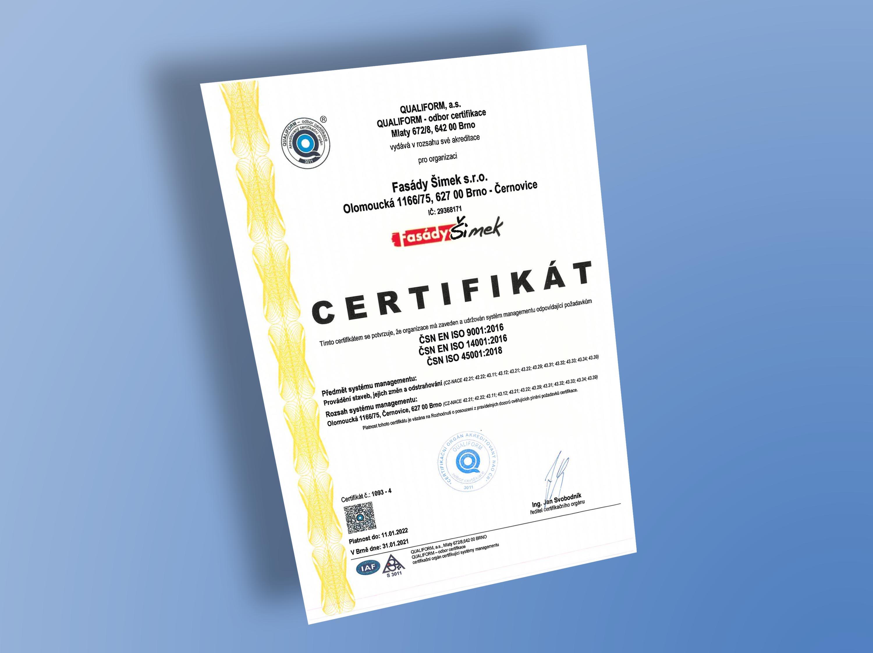 Certifikát ČSN