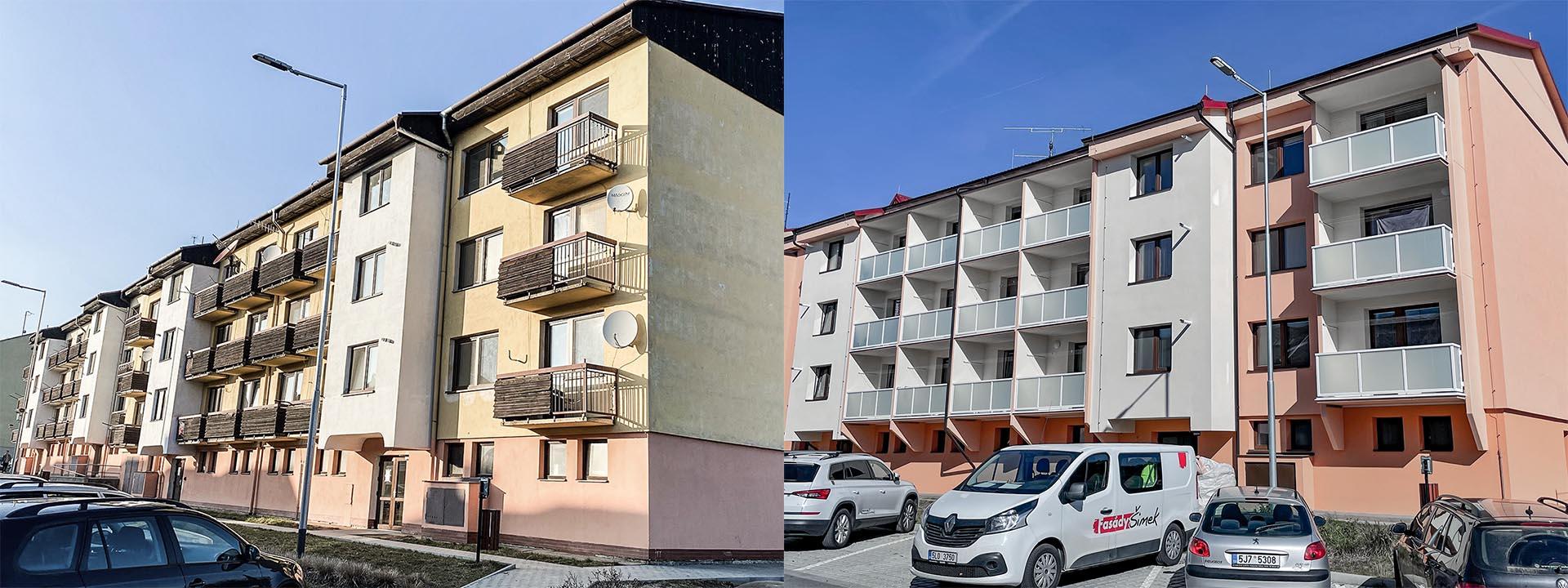Rekonstrukce bytového domu okres Třebíč - Jemnice, před a po